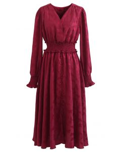 Jacquard Butterfly Button Down Wrap Midi Dress in Red