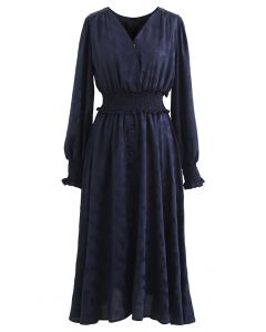 Jacquard Butterfly Button Down Wrap Midi Dress in Navy