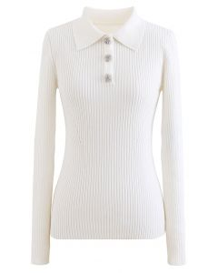 Brooch Button Collared Fitted Knit Top in White