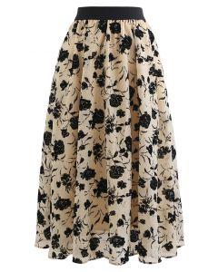 Rosa Print Sheer Midi Skirt in Sand