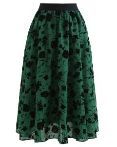 Rosa Print Sheer Midi Skirt in Green