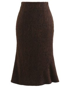 Baroque Velvet Lace Flared Pencil Skirt in Brown