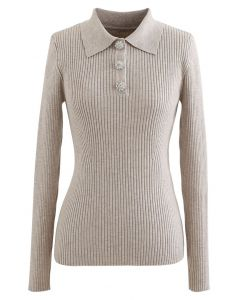 Brooch Button Collared Fitted Knit Top in Linen