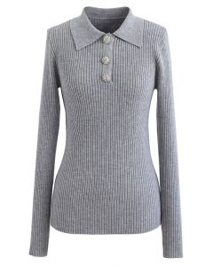 Brooch Button Collared Fitted Knit Top in Grey