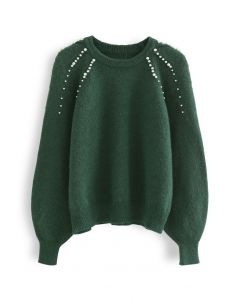Pearly Shoulder Fuzzy Knit Sweater in Green