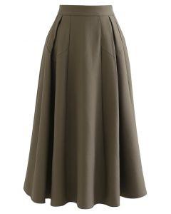 Functional A-Line Pleated Midi Skirt in Khaki