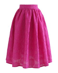Ebullient Pink Embossed Floral Midi Skirt