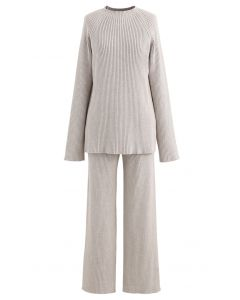 Rib Knit Split Hem Sweater and Pants Set in Sand
