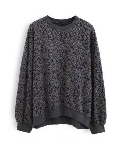 Leopard Print Round Neck Sweatshirt in Smoke