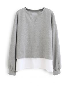 Fake Two-Piece Raw Cut Hem Sweatshirt in Grey