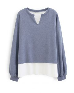 Fake Two-Piece Raw Cut Hem Sweatshirt in Blue