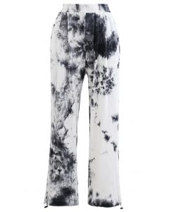 Pocket Tie Dye Ribbed Drawstring Hem Pants