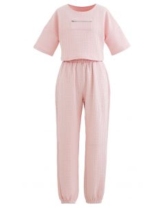 Quilted Zipper Crop Top and Joggers Set in Pink