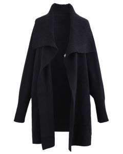 Wide Lapel Batwing Sleeves Longline Knit Cardigan in Black