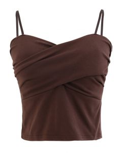 Cross Wrap Fitted Cami Top in Brown