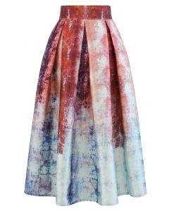 Wonderland Maze Print Pleated A-Line Midi Skirt