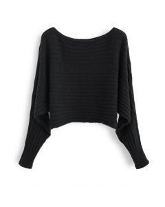Fuzzy Boat Neck Crop Knit Sweater in Black