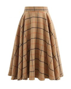 Wool-Blend Check Print Flare Skirt