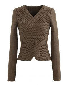 Crisscross Fitted Rib Knit Top in Brown