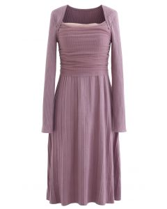 Mesh Overlay Square Neck Rib Knit Dress in Lilac