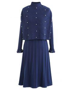 Pearl Trim Pleated Knit Twinset Dress in Indigo