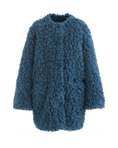 Collarless Shaggy Faux Fur Suede Coat in Peacock