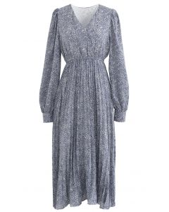 Graceful Floret Wrap Pleated Dress in Blue