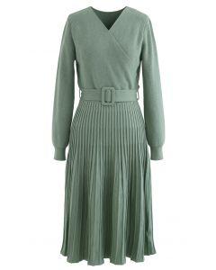 Belted Wrap Rib Knit Midi Dress in Green