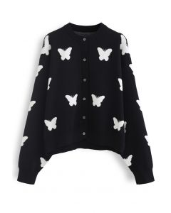Butterfly Pattern Button Down Knit Cardigan