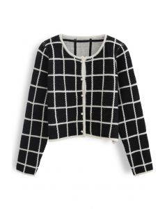 Honeycomb Knit Grid Cropped Cardigan in Black