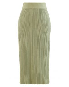 Slit Back Rib-Knit Pencil Skirt in Moss Green