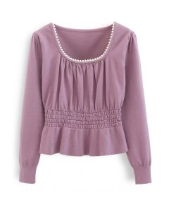 Pearl Square Neck Shirred Peplum Knit Top in Lilac