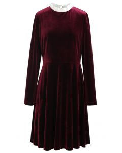 Sweet Neckline Velvet Flare Dress in Wine