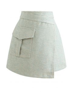 Patched Pocket Flap Tweed Bud Skirt in Green