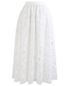 Floral  Sequin Double-Layered Mesh Skirt in White