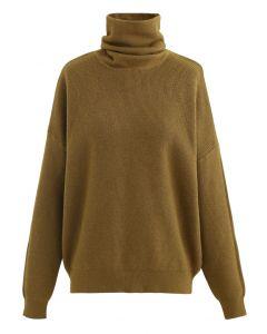 Basic Turtleneck Ribbed Knit Sweater in Ginger