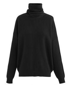 Basic Turtleneck Ribbed Knit Sweater in Black