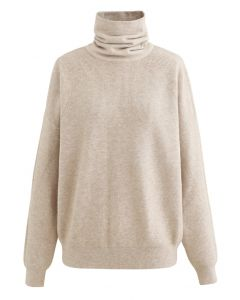 Basic Turtleneck Ribbed Knit Sweater in Sand