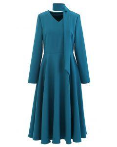 Scarf V-Neck Flare Midi Dress in Peacock