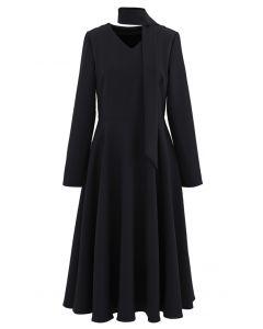 Scarf V-Neck Flare Midi Dress in Black