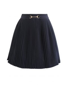 Horsebit Trims Pleated Mini Skirt in Smoke