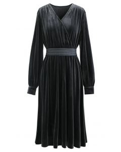 V-Neck Belted Velvet Wrap Dress in Grey
