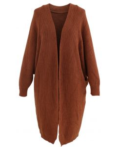 Batwing Ribbed Knit Longline Cardigan in Caramel