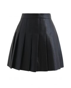 Pleated Faux Leather Mini Skirt in Black