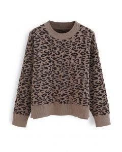 Leopard Pattern Round Neck Knit Sweater in Brown