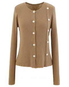 Double-Breasted Rib Knit Top in Camel