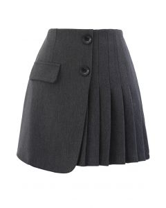 Buttoned Flap Pleated Mini Skirt in Grey