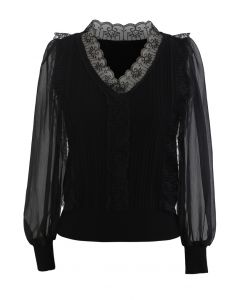 Lacy V-Neck Sheer-Sleeve Knit Top in Black