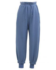 Cuffed Hem Drawstring Pockets Joggers in Blue