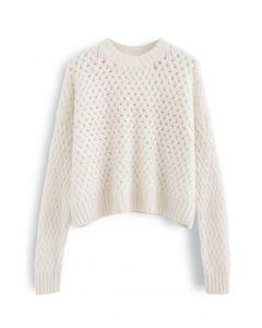 Crisscross Fuzzy Round Neck Sweater in Cream